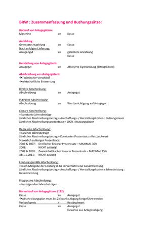 Zusammenfassung Buchungssätze Rechnungswesen Ws 2013 Raute Wirtschaft
