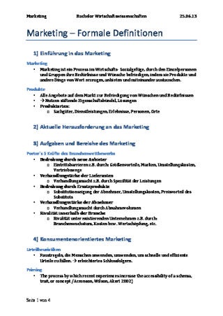 Vorschau: Marketing: Formale Definitionen