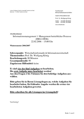 Vorschau: Informationsmanagement I: Klausur