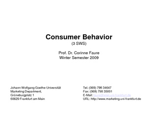 Vorschau: Marketing: Vorlesungsfolien Consumer Behavior